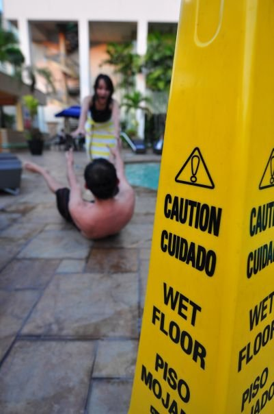 Slip and Fall Location at pool with sign